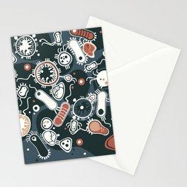 Eukaryotes (dark blue, white and orange) Stationery Cards