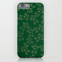 Sweet forest green gold foil christmas ginger bread man iPhone Case