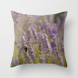 Bumblee in a field of lavender Throw Pillow