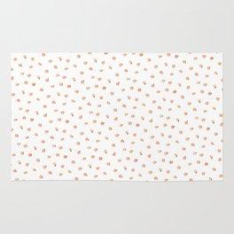 Sweet Peach Polka Dot, White Rug