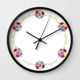 Hand drawn flowers wreath. Cute, colorful, hand drawn style. Beautiful wreath.Vector illustration. Wall Clock