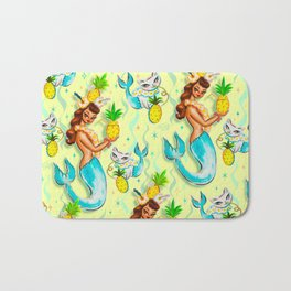 Tropical Pineapple Mermaid with Merkitties Bath Mat