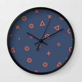 Happy Particles - Dark Blue Wall Clock