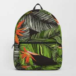 Exotic Leaves and Flowers Print Backpack