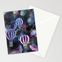 Hot Air Balloon in Galaxy Sky Stationery Cards