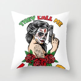 They Call Me La Jefa Funny Skeleton Mexican Gift for Women Throw Pillow