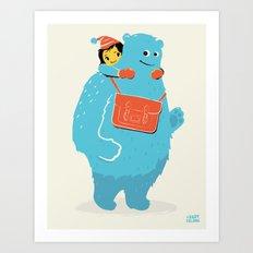 Blue-Monster Piggy-Ride Art Print