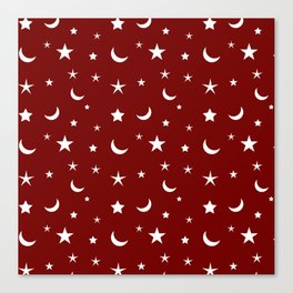 White moon and star pattern on red background Canvas Print