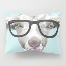 Goat with Glasses, Cute Farm Animal Pillow Sham
