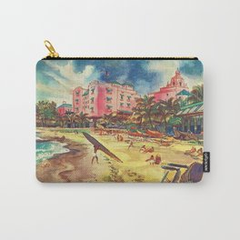 Hawaii's Famous Waikiki Beach landscape painting Carry-All Pouch