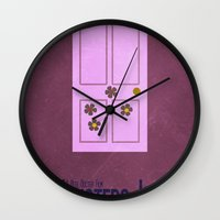 monster inc Wall Clocks featuring Monsters Inc. by Matt Bacon