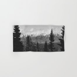 Snow Capped Sierras - Black and White Nature Photography Hand & Bath Towel