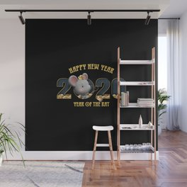 happy new year 2020 year of the rat 3 Wall Mural