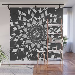 GREY, BLACK AND WHITE FLOWER OF LIFE Wall Mural