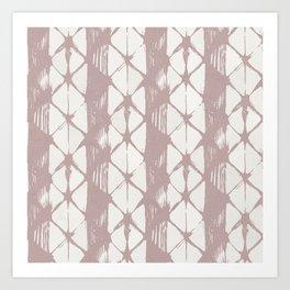 Simply Braided Chevron Clay Pink on Lunar Gray Art Print