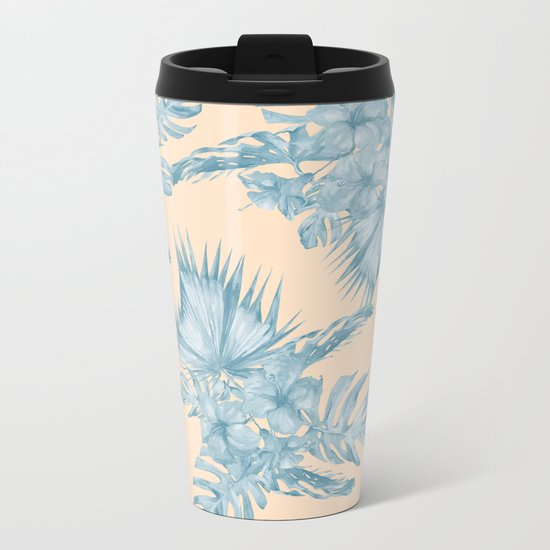 Tropical Flowers and Leaves Blue on Peach Coral Metal Travel Mug