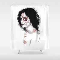 day of the dead Shower Curtains featuring Day Of The Dead by Mr Wetpaint