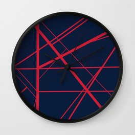 Crossroads - Navy and Red Wall Clock