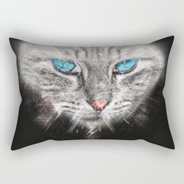 Silver Abstract Cat Face with blue Eyes Rectangular Pillow
