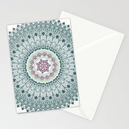 Color teal and purple feather mandala hippie boho Stationery Cards