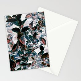 Inverted Floral - Green, Red, White leaves, leaf print, kitchen, bathroom Stationery Cards