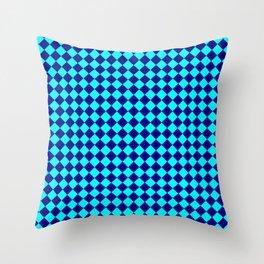 Cyan and Navy Blue Diamonds Throw Pillow