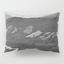 River in the Mountains B&W Pillow Sham