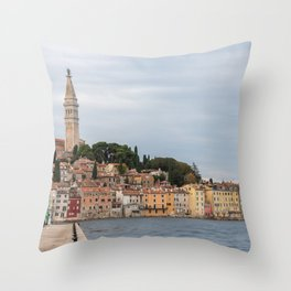 Pretty Seaside Town Rovinj Croatia Waterfront Throw Pillow