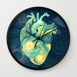 Anatomical Human Heart - Starry Night Inspired Wall Clock