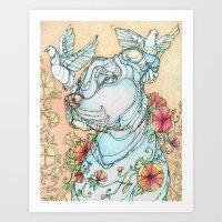 pitbull Art Prints featuring Peaceful Pitbull by Kate Fitzpatrick