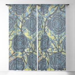 Black and Blue Sheer Curtain