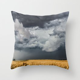 Cotton Candy - Storm Clouds Over Wheat Field in Kansas Throw Pillow