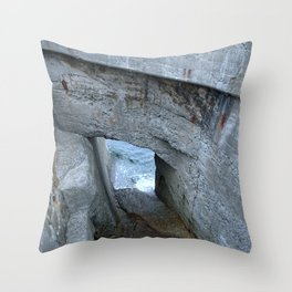 gunkanjima water inlet Throw Pillow