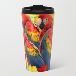 YELLOW-BLUE  FLORAL MACAWS & RED YELLOW HIBISCUS Travel Mug