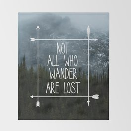 Not All Who Wander Mountain Print Throw Blanket