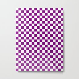 Small Checkered - White and Purple Violet Metal Print