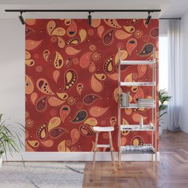 Red Paisley Wall Mural