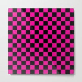 Pink and Black Checks Metal Print