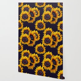 Sunflowers yellow navy blue elegant colorful pattern Wallpaper