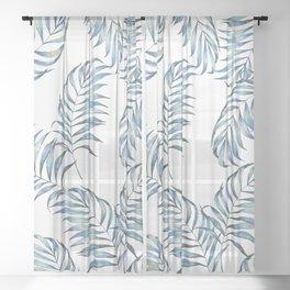 Blue Leaves Sheer Curtain