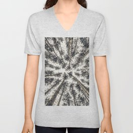 Trees viewed from below Unisex V-Neck
