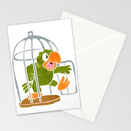 parrot out of the cage Stationery Cards