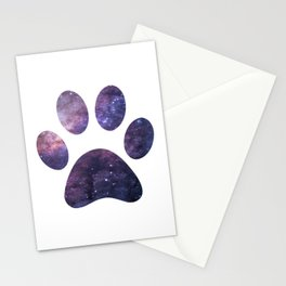 Purple Paw Galaxy Stationery Cards