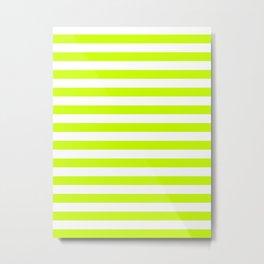 Narrow Horizontal Stripes - White and Fluorescent Yellow Metal Print
