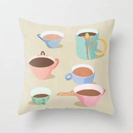 Coffee Girls Throw Pillow
