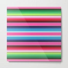 Pink Mexican Serape Blanket Stripes Metal Print