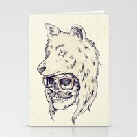 hat Stationery Cards featuring WOLF HAT by Mike Koubou