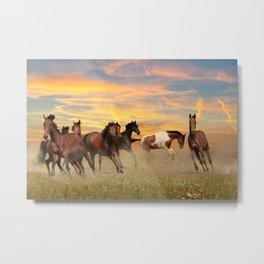 Horses Landscape Metal Print