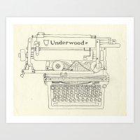 typewriter Art Prints featuring Typewriter by Hedera