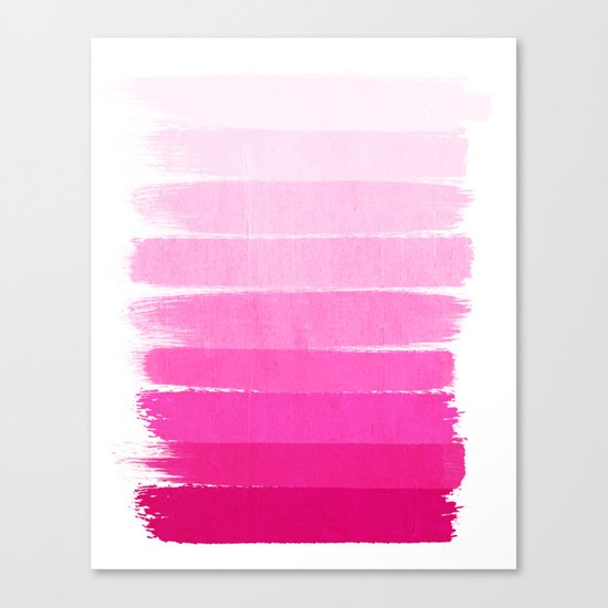 Luca - Ombre Brushstroke, pink girly trend art print and phone case for young trendy girls Canvas Print